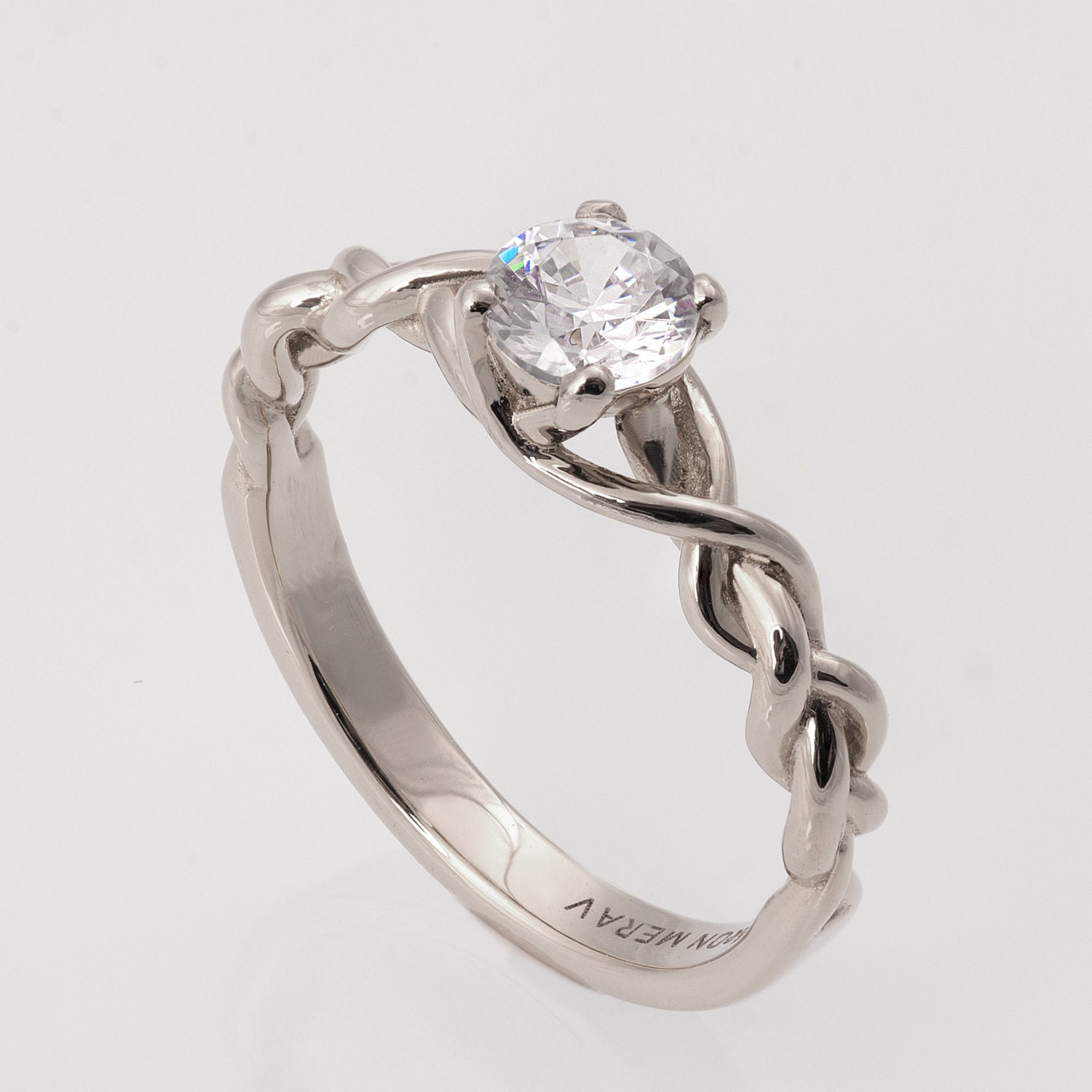 braided engagement ring no 2 14k white gold and diamond