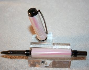 Handcrafted Pen - Navigator Pink Conch Shell Tru-Stone Roller Ball Pen in a Stunning Black Titanium Finish