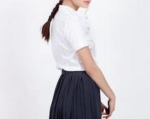 SALE Dark gray pleated skirt - chiffon skirt - knee length skirt - short skirt - high waisted pleated skirt - high waisted skirt