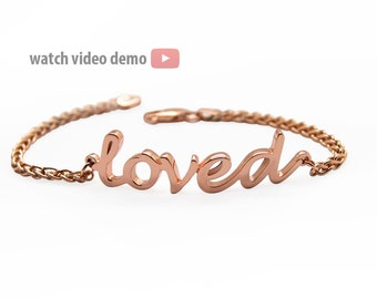 Gold Name Bracelet: 14K Gold Bracelet, Personalized Bracelet, Solid Gold Bracelet - Rose Gold, White Or Yellow Gold, Custom Gold Bracelet