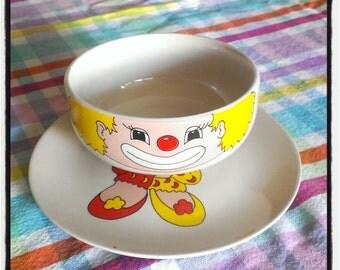 "vintage ceramic set ""clown"" : plate  - bowl"