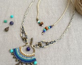 Sea of tranquility - micro macrame necklace with brass beads, turquoise and lapis beads