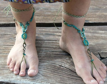 Happy feet macrame barefoot sandals hippie bohemian shoes beaded anklets turquoise blue tagt team
