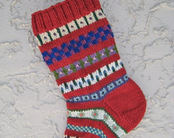 Christmas stocking hand knit in brick red with FREE U.S. SHIPPING vibrant colors and patterns