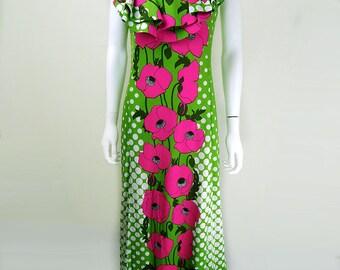 1960s Vintage Pierre Cardin Bright Flower Power Maxi Dress Size 12