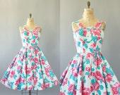 Vintage 50s Dress/ 1950s Cotton Dress/ California Cottons Pink & Turquoise Floral Shelf Bust Cotton Dress S