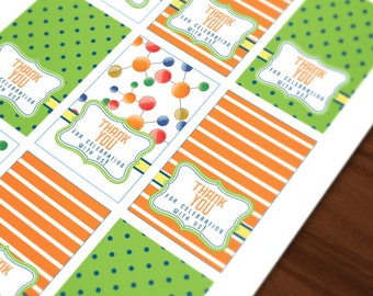 Science Party Birthday DIGITAL Thank You Tags
