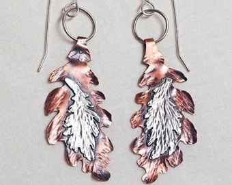 Sterling Silver and Copper Double Leaf Earrings Handmade
