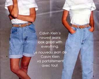 Vogue 2851 Calvin Klein Jeans Pants Shorts American Designer W29 W30.5