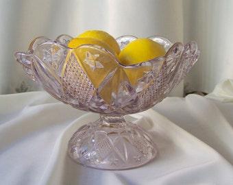 Vintage Glass Bowl Purple Glass Bowl Pedestal Serving Bowl Sun Purple Vintage Decor  Circa 1915
