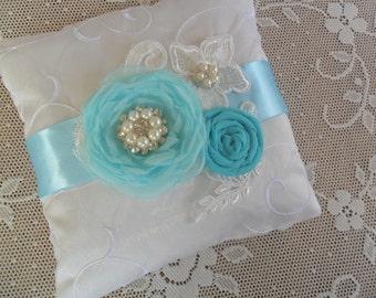 Light Turquoise Ring Bearer Pillow, Lace Wedding Pillow, Floral Ring Pillow, Blue Ring Bearer Pillow, Something Blue, Bridal Ring Pillow
