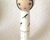 Wooden Bird Girl Figurine Black and White