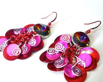 Crystal Earrings w Volcano Swarovski Elements, Red w Fuchsia Earrings, Shell Cluster Earrings, Red Dangle Earrings, Pink Cascade Earrings