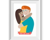 Custom Couple Artwork Bespoke Wedding Portrait
