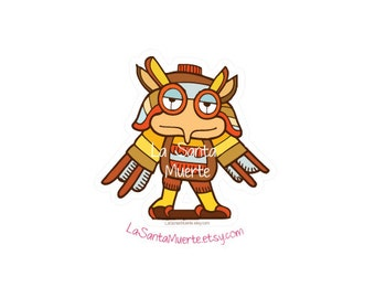 Aztec owl, mexican aztec art waterproof/uv resistant vinyl sticker