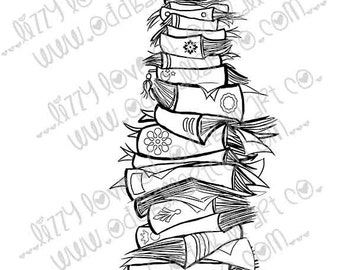 2 Stamps Set INSTANT DOWNLOAD Digi Stamp 4 Files - Short and Tall Stack of Books Image No.249 by Lizzy Love