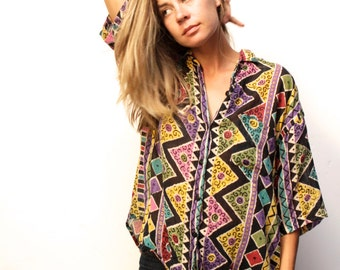 versace style 90s tie dye SURF slouchy WILD baroque oversize blouse shirt