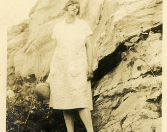 "Vintage Photo ""Climbing With Style"" Girl Wearing Dress Snapshot Photo Old Antique Photo Black & White Photograph Found Paper Ephemera - 01"