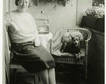 "Vintage Photo ""Balcony Buddies"" Women Woman Puppy Dog Snapshot Photo Antique Photo Black & White Photograph Found Photo Paper Ephemera - 27"