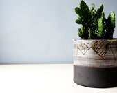 pottery plant pot, meduim plant pot, ceramic plant pot, succulent plant pot, housewarming gift hor men, gift for host, black white gold