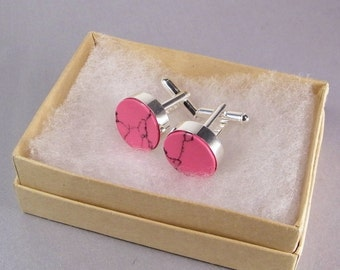 Pink Cuff Links SHIPS IMMEDIATELY Handmade Round Pink Black Cuff Links Composite Rhodonite Pink Wedding Gifts Birthday Gifts for Him