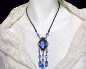 1920s Blue Bohemian Glass and Brass Sautoir Necklace