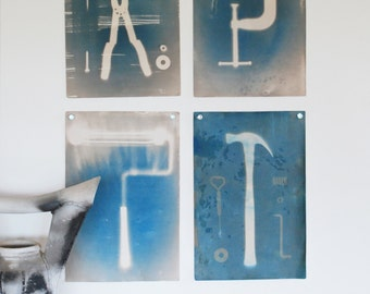 Man Cave decor, set of 4 prints, original cyanotypes, office art, tools, den decor
