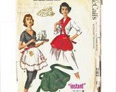 Christmas Apron Pattern with Golden Metallic Motifs, One yard holiday apron pattern with transferMcCall's 2128