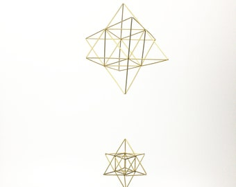 Double Stella Baby Mobile - Scandinavian himmeli sculpture - Stellated Octahedron