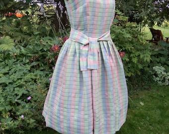 Vintage 50's Sun Dress Pleated Pink Blue Metallic with Belt