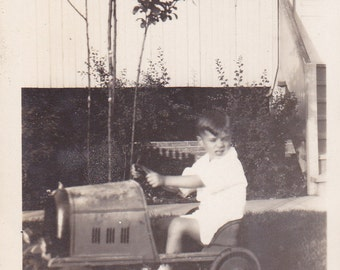 Vintage 1930's Young boy rides Toy metal pedal car DIGITAL DOWNLOAD