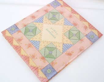 Vintage Photography Book 1970s Home Photo Album Patchwork Cover Scrapbook  Peach Yellow Green Blue