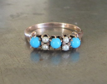 Victorian Turquoise Pearl Ring - Turquoise Stacking Ring- Vintage Turquoise Ring - Antique Victorian Band-Turquoise Band-Pearl Ring