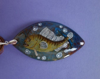 FREE SHIPPING Hand painted stone   Pendant Fish 3