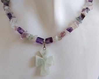 Pale Green Flourite Cross Necklace