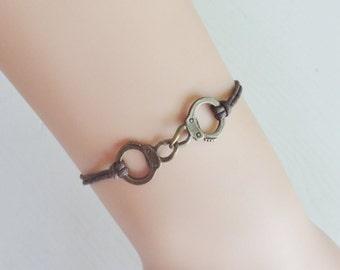 Handcuffs Bracelet or Anklet in Antique Brass, Bronze Handcuff Bracelet, BFF Gift, Best Friend Gift, Friendship Gift, Couples Jewelry