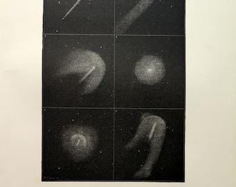 1870 antique Halley Comet  print, vintage original  comet engraving, astronomy stars heavens cosmos plate, celestial  Herschel lithograph.