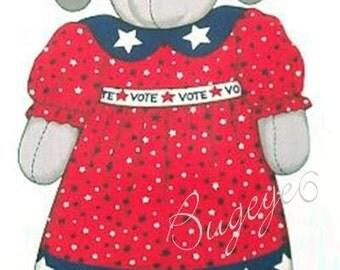 "Republican Fabric Elephant American Flag DOLL + CLOTHES Fabric Panel - BIG 21"" Doll"