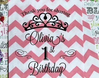 Paper Bags, 25 Blush Pink Chevron Custom Printed 1st Birthday Favor Bags, First Birthday Party Candy Bags, Personalized Favor Bags