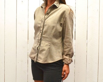 Equestrian Button Up Shirt - Early 90s Horse Back Riding Blouse - Gray Vintage Womens Shirt - Medium M