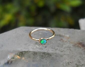 Nose Ring Hoop - Tragus Earring - Cartilage Earring - Helix Hoop Earring - 14K Solid Yellow Gold 2 mm Blue Opal  7mm Inner Diameter Hoop