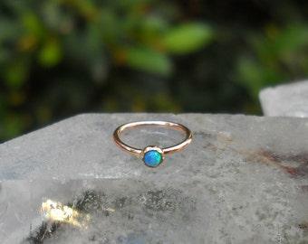 Nose Ring Hoop - Tragus Earring - Cartilage Earring - Helix Hoop Earring - 14K Solid Rose Gold 2 mm Blue Opal - 7mm Inner Diameter Hoop