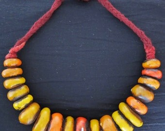 Berber Henna Color, RESIN Faux-Amber Beads, Necklace Morrocan Sahara with Dark Red Wool