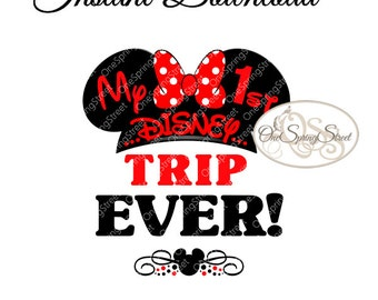 Disney Iron On Transfer FIRST TRIP EVER Minnie Family Printable Disney Cruise Disney World Disneyland Printable Instant Download bhh 1587 b4