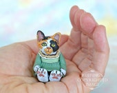 Cat Art Doll, OOAK Original Calico Kitten, Miniature Hand Painted Folk Art Figurine Sculpture, Gypsy by Max Bailey