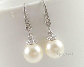 Pearl Earrings // Swarovski Crystal Pearl Earrings // Bridesmaids Pearl Earrings