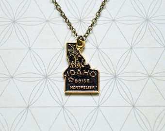 Vintage Idaho Necklace - State Necklace - Boise - Montpelier - State Jewelry - Vintage Souvenir - Idaho Jewelry - Idaho Charm