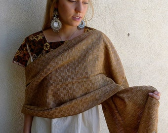 "Mexican Oaxaca cotton basket weave shawl - handwoven naturally dyed - fringed  19"" Wide x 66"" + fringe"