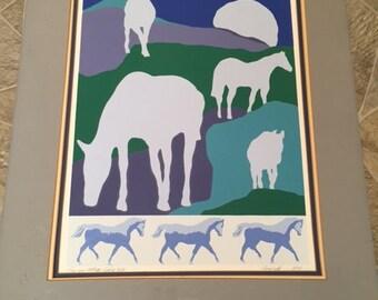 Vintage Southwestern Serigraph Art Print by Eugene William Sabia Horse Coyote 1980