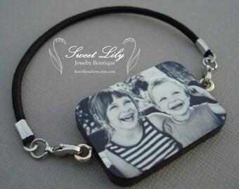 Custom Wooden Rectangle Photo Bracelet